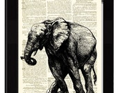Elephant Dictionary Art Print Antique Rag Cotton Paper and Etching