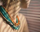Turquoise Beige and Orange wood bead Handmade Necklace no.2 - Tumach