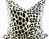Decorative pillow cover/ black and white animal print/ silk/ 18 inch - lajoyade