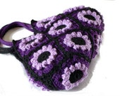 Purple crochet flower handbag , crochet bag, shoulder bag, purse