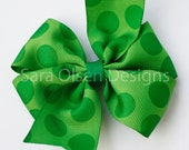Extra Large Sweet and Simple Green Polka Dot Pinwheel Hairbow Perfect for St. Patrick's Day