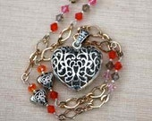 Valentine Jewelry - Long Adjustable Silver Filigree Heart Necklace