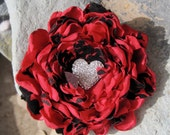 Red and Black Satin and Chiffon Flower Brooch, Pin, Hair Clip with a Beautiful Rhinestone Heart Accent - theraggedyrose