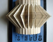 Folded Book Sculpture Vintage Music Book with Embroidery