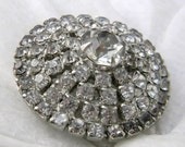 Vintage Rhinestone Brooch Pin Unsigned Beauty Wedding Jewelry Tiered Design