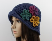 Crochet Cloche Hat  Women Hat with Flowers Blue