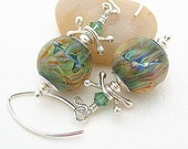 Green Glass Earrings, Artisan Lampwork, Beaded Earrings, Silvered Glass, Sparkling, Amber, Blue, Mauve, Sterling Silver, Swarovski - ORION - BeguiledByTheBead