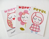 Girls Art Cards - Girl - Owl - Flower Postcard Set