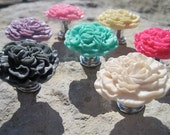6 Peony Flower Drawer knobs, PICK your COLOR (RKPF00)