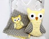 Yellow Gray Polka Dot Owl Gift Set -- Blanket and Stuffed Plush Owl -- Appliqued Baby Blankie - ALittleBitofJoy