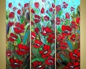 Original Modern Large Oil Painting MORNING DEW FLOWERS 36x36 by Luiza Vizoli