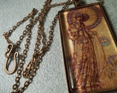 Lady with Parasol glass pendant with antique copper chain - fifthheaven