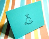 Wedding Dress Card - Tiffany Blue, Will you be my Bridesmaid, Blank inside, Thank You Card, Invitation