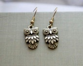 Little Owl Earrings Dangle Charm Antique Brass