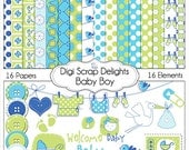 Baby Scrapbook Kits Baby Boy Scrapbook Kit in Blue & Green