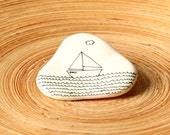 Little Boat - Boat Brooch - Hand drawn - Ready To Ship