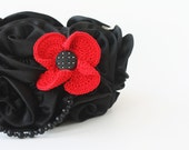 Floral jewelry Big flower brooch Red black crochet costume jewelry Spring fashion Gift for her under 15 Poppy Night out outfit oht - boorashka