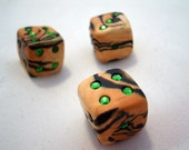 Pair of Tiger Stripes with Green Game Playing Dice (D6 - Six Sided)