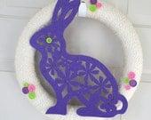 Easter yarn wrapped wreath bunny
