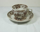 Vintage Brown TRANSFERWARE TEA CUP Shabby Cottage