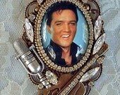 Elvis Presley In A Bubble Cameo Pin/Brooch Pendant NEW Signed OOAK C Erbsland