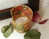 Decoupage Bracelet Cuff Peach Rose Sage Green Victorian Style Romantic Nature Garden Jewelry - AlbinaRose