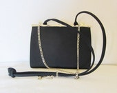 LIZ CLAIBORNE Black Fabric Evening Bag Clutch, Dual Shoulder Strap Choice Xbody