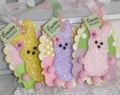 Easter Peeps Glitter Bunny Gift Tag Set