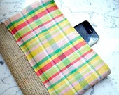 Burlap jute clutch / purse / bag with yellow red green pink cotton plaid fantasy fabric. - VixDesignStudio