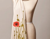 poppy illustration jersey knit scarf, cream
