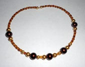 Chocolate and Gold Beaded Memory Wire Choker - Glass Pearls, Glass Beads, Spring