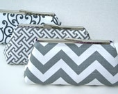 Gray and White Bridesmaids Clutch Set varying shade and patterns of gray Design your own