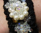 Black Vintage style earrings pearls crystals cuff bracelet