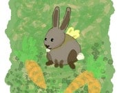 Happy Easter Card- Bunny Carrots Green Spring Grass Friendship