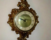 Vintage 1960's United Clock Co. Gold Baroque Wall Clock, Brooklyn NY Model 84