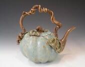 Green Pumpkin Teapot - TerraKiTeaware