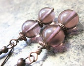 Amethyst Czech Glass Earrings, Wire Wrapped in Antiqued Copper - OOAK / One Of A Kind . Soft Purple Rounds . Elegant Flare