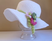 PATTERN - Spring Garden - a spring/summer hat with flowers in 6 sizes (Infant - Adult S) - TheHatandI