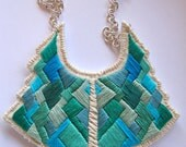 Statement bib necklace art deco geometric tribal handmade embroidered in beautiful greens and blues modern jewelry - AnAstridEndeavor