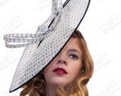 Couture Kentucky Derby Fascinator Hat Polka Dot - ffortissimo