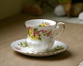 A Rosina Wild Flowers Fine Bone China Rosina Tea Cup and Saucer - JimmyVintage
