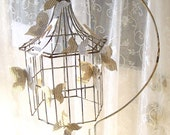 Antique Wrought Iron Bird cage and Stand. Paper Butterflies. Shabby Rusty Ornamental  Romantic Cottage Garden Patio Wedding Accessory SALE - 3vintagehearts