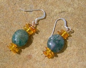 Golden Amber, Moss Agate and Sterling Silver Earrings - Kismetgems