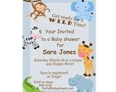 Safari Animals Invitations - Blue Polka Dots, a Digital Printable Baby Shower Invite