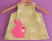 Baby girl spring dress, Easter baby dress with felt bunny, green and white polka dots dress for baby