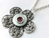Metal and dark pink Silver Filigree Flower Pendant Necklace, Steampunk