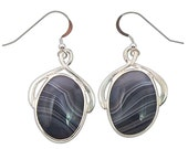 Botswana Agate and Sterling Silver Earrings  ebotf1851 - LunarSkiesJewelry