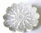 Ceramic Flower Plate, Oval Shape Purple White Dish, Ring Holder with Lace Pattern - Ceraminic