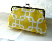 Yellow Cotton Clutch Purse - Gotcha Summerland - Lined in Dupioni Silk - Daisy - JuliaSherryDesigns