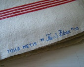antique french métis kitchen towel, four stripes - joellecutro